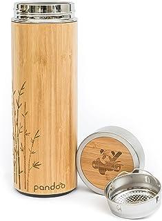 pandoo Bambus Thermobecher – doppelwandige Thermoflasche, Reisebecher, Teebereiter,..