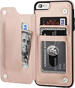 iPhone 6s Plus iPhone 6 Plus Wallet Case with Card Holder,OT ONETOP Premium PU Leather Kickstand Card Slots Case,Double Magnetic Clasp and Durable Shockproof Cover 5.5 Inch(Rose Gold)