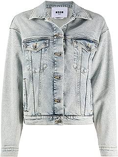 MSGM Luxury Fashion Womens 2841MDH48LX20727588 Light Blue Jacket |
