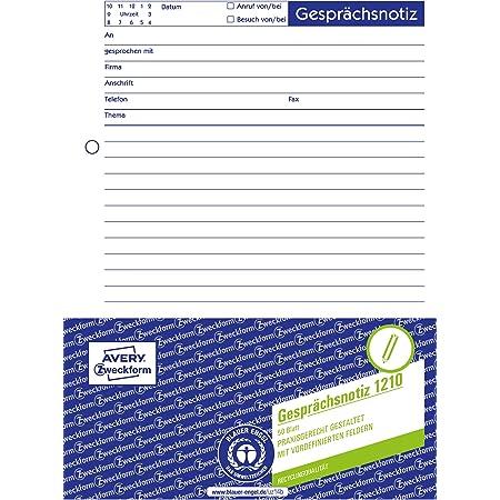 Avery Zweckform 1210 Gesprächsnotiz A5 Abreißblock Oben Verleimt 50 Blatt Weiß Bürobedarf Schreibwaren