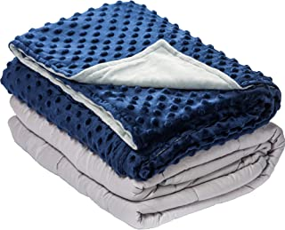 10 lbs Weighted Blanket with Dot Minky Cover for Kids Teens (Inner Light Gray/Cover Navy Blue & Gray, 48