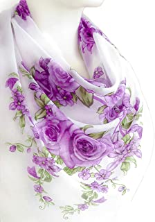 Purple Lavender Flowers Print Thin Scarf Soft Cotton Large Square 38 x 38 inches Women's Fashion Accessories Shawl Wrap