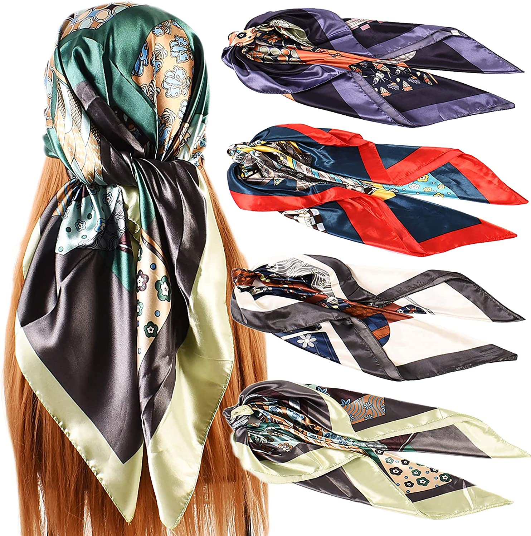 Jsiluxna Satin Head Scarves Square Silk Feeling Hair Scarf 4 PCS 35 Inches Headscarf for Women Silk Hair