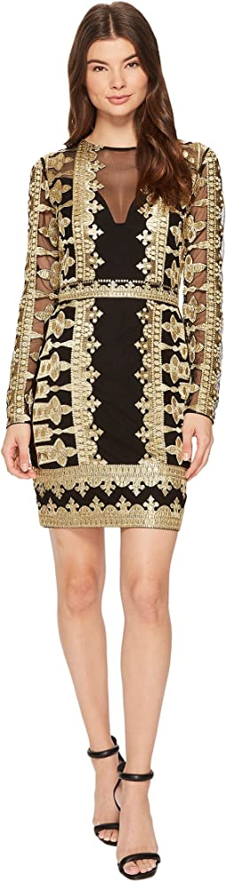Nicole Miller - Crown Embroidery Mesh Long Sleeve Dress