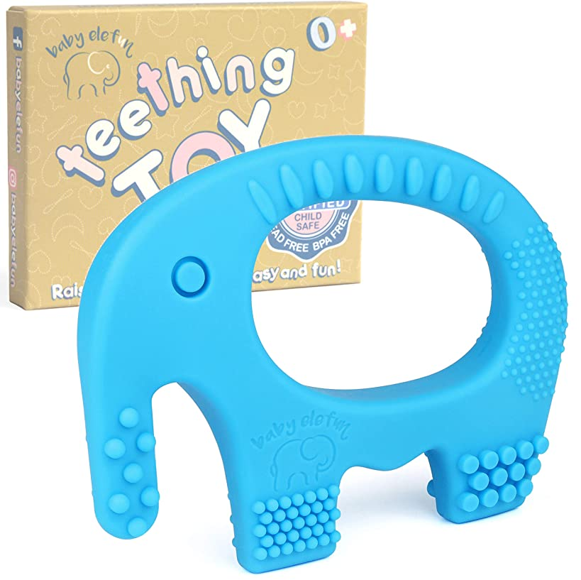 Teethers For Babies Bpa Free - Silicone Teething Toys For Boys, Easy To Hold, Soft, Bendable, Highly Effective Elephant Teether Ring, Best for Freezer, Cool 3 6 12 Months 1 Year Old Baby Shower Gifts