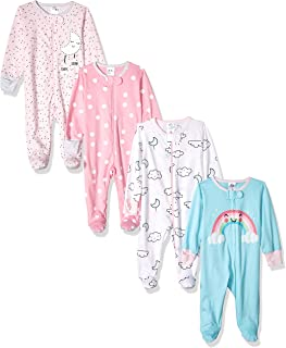 Baby Girls' 4 Pack Sleep N' Play Footies