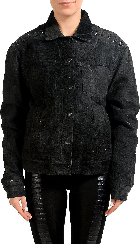 Just Cavalli Black Denim Oversized Women's Insulated Jean Jacket US S IT 40