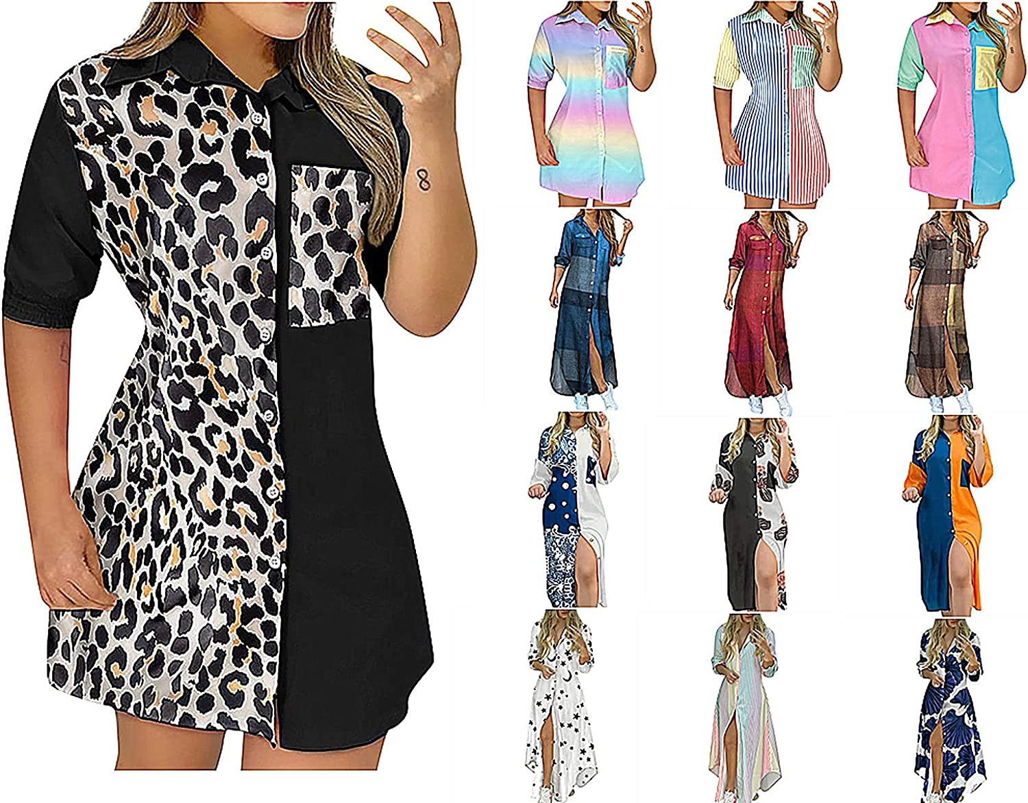 Women's Short-Sleeved Shirt Jacket Casual Tie-Dye Collision Color Buttons Dress Pocket