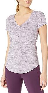 Core 10 Pima Camiseta de Manga Corta con Cuello en V Playera para Yoga para Mujer