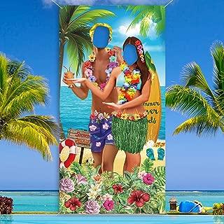 6 x 3 ft Hawaiian Aloha Party Decorations Luau Couple Photo Prop Funny Luau Couple Photo Door Banner for Luau Party or Beach Party Supplies Favors Giant Fabric Hawaiian Luau Photo Booth Background