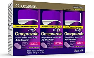 GoodSense Omeprazole Delayed Release Tablets 20 mg, Acid Reducer, Wildberry Mint Coated Tablet, 42 Count