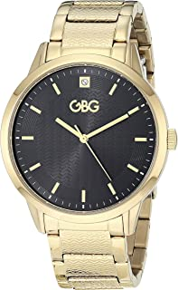G by GUESS Men's Analog Quartz Brass Strap, Gold, 5 Casual Watch (Model: G89119G1)
