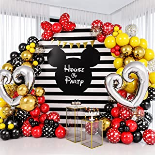 HOUSE OF PARTY - Mickey Inspired Balloon Garland Kit 164 Pcs, Red Polka Dot, Yellow, Black, Confetti Gold Mouse & Heart Ba...