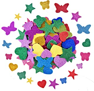 Coopay 6 Sets Glitter Foam Stickers Self-Adhesive Star Mini Heart Butterfly Shapes Stickers for Kid's Arts Craft Supplies Birthday Graduation Party Decor, Assorted Colors and Sizes