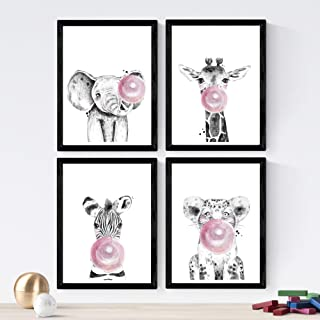 Nacnic Set de 4 láminas de Animales Infantiles con Chicle