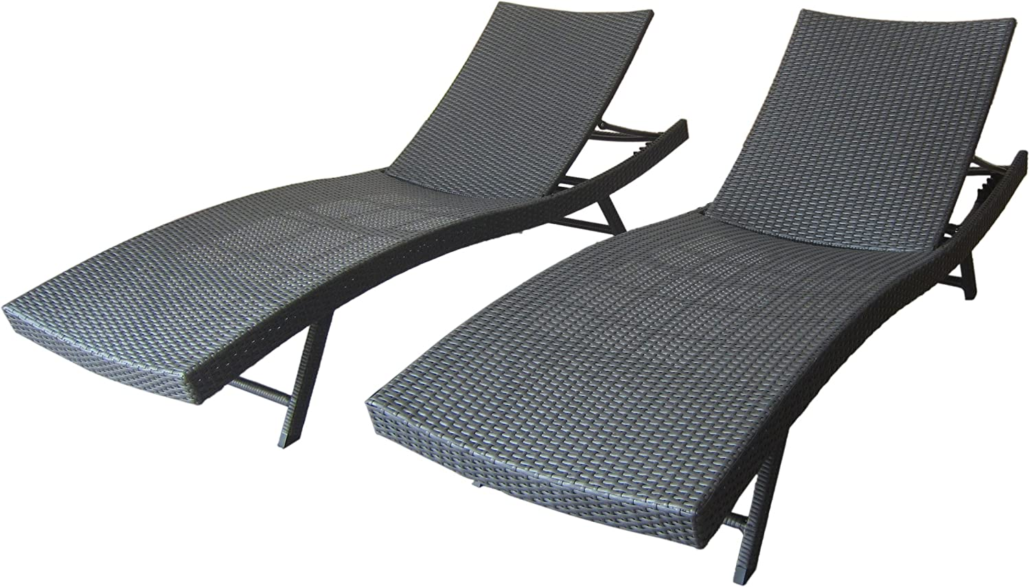 Christopher Knight Home 304606 Arthur   Outdoor Wicker Chaise Lounges   Set of 2   in Grey