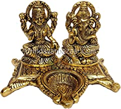 VRINDAVANBAZAAR.COM Lakshmi Ganesh in Metal with Diya in The Center