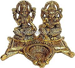 VRINDAVANBAZAAR.COM Lakshmi Ganesh in Metal with Diya in The Center