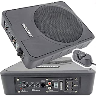 Audiotek 10 Inches 400 Watts Peak Power / 200 Watts RMS Slim Under-Seat Active Power Audio Car/Truck Angle Trunk Box Sub-w... photo