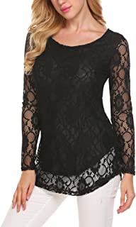 SoTeer Lace Blouse Women`s Long Sleeve Casual Loose Boatneck Floral Lace Layered Tops