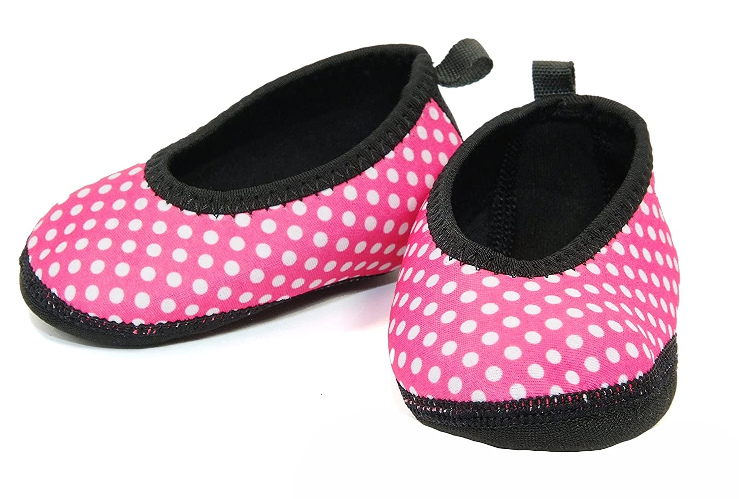 Nufoot Baby Slippers Ballet Flats, Pink with White Polka Dots, 0-6 Months