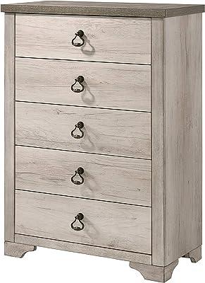 Amazon Com Sauder Harbor View 5 Drawer Chest Antiqued White Finish Furniture Decor