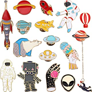 16 Pieces Enamel Pins Cute Cartoon Lapel Brooch Space Badge Pin for Backpack Hat
