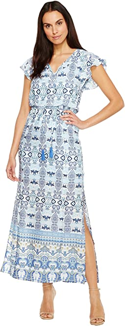 Pieced Paisley Printed CDC Blouson Maxi Dress w/ Short Sleeves