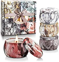 CREASHINE Scented Candles Gifts Set,100% Natural Soy Wax Travel Tin Women Gift for Stress Relief and Aromatherapy Candles,Birthday Gifts for Women 4x4.4 Oz,120 Hours