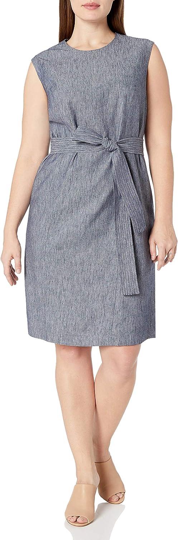 NINE WEST Women's Plus Size Linen Dress W/Self Belt (2)