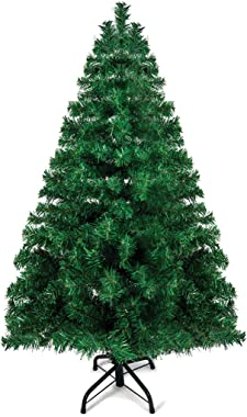 Prextex 4 Feet Premium Hinged Artificial Canadian Fir Christmas Tree Lightweight and Easy to Assemble with Christmas Tree Met