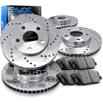 For Mercedes-Benz C300 E300 Front /& Rear Drilled Slotted Brake Rotors