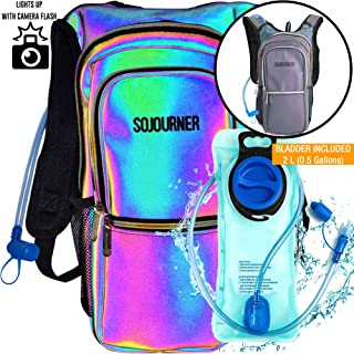Sojourner Rave Hydration Pack Backpack - 2L Water Bladder Included for Festivals, Raves, Hiking, Biking, Climbing, Running and More (3 Pocket)