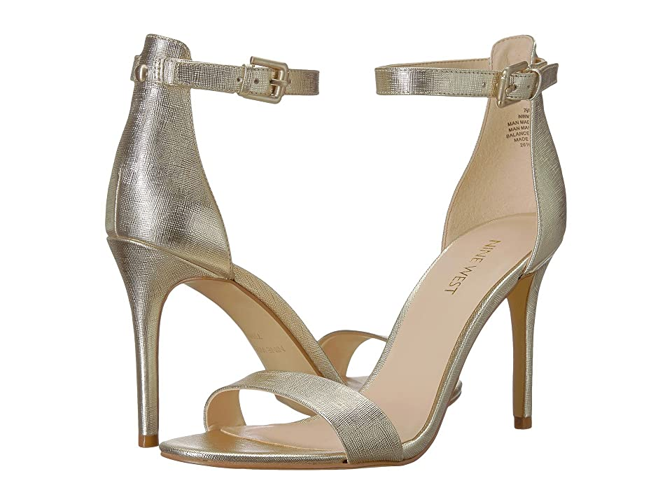 Nine West Mana Stiletto Heel Sandal (Platino Etched Metallic PU) High Heels