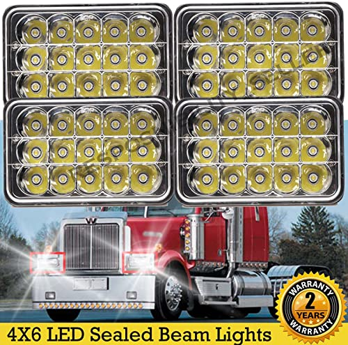 popular Newest 4x6 LED Sealed Beam Lights for Kenworth Peterbilt 357 379 378 FREIGHTLINER outlet sale FLD 112 new arrival 120 Rectangular Headlight H4651 H4652 H4656 H4666 H6545 Replacement Fast Installation Bright Truck Lamps, Pack sale