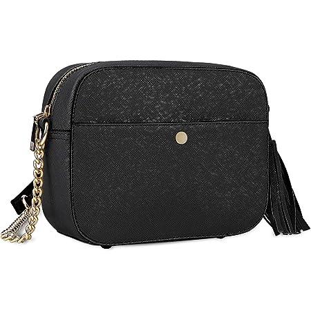 Pequeño Bolso Bandolera Mujer Bolsos de Hombro Cuero PU Elegante Cadena Mensajero Crossbody Bag Trabajo Moda Diario Vida Negro