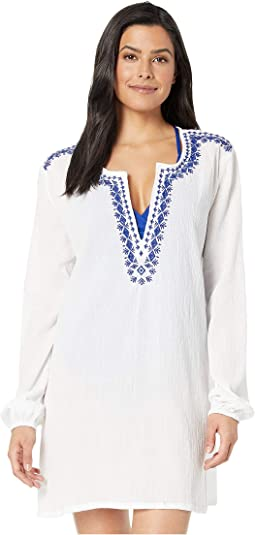 7d9f68bee3 White. 1. La Blanca. Promenade Long Sleeve Embroidered Tunic Cover-Up