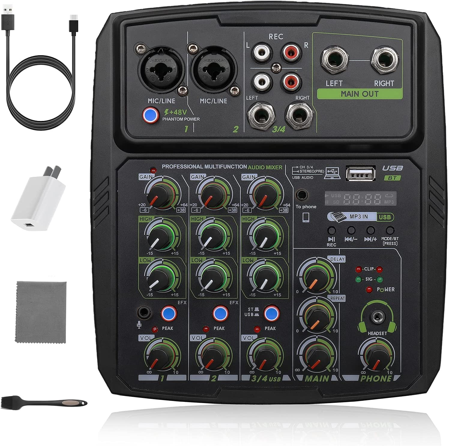 ViiArt Professional Wireless Some reservation Audio Mixer Digital Bluet Tucson Mall 4-Channel