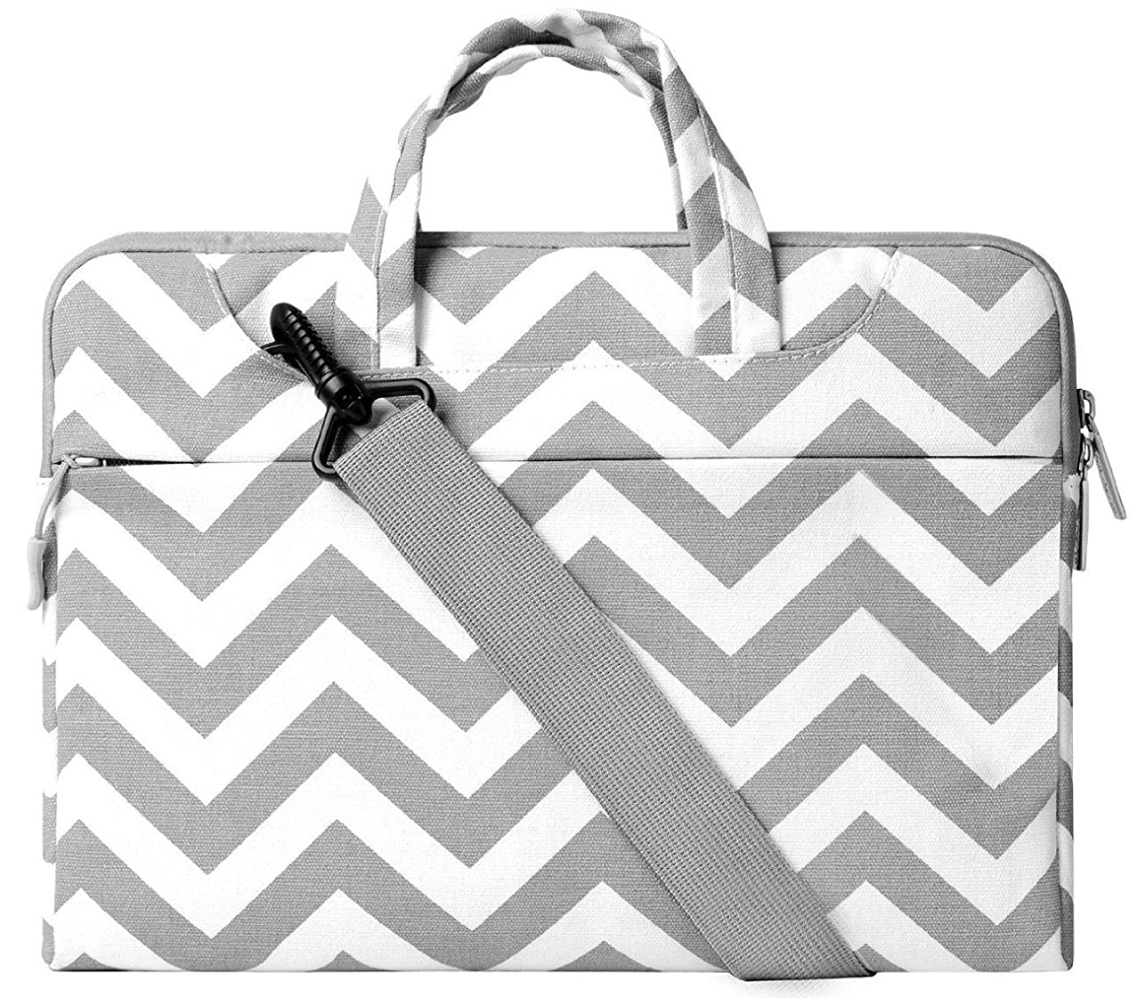 MOSISO Laptop Shoulder Bag Compatible 13-13.3 Inch MacBook Pro, MacBook Air, Notebook Computer, Chevron Style Protective Polyester Carrying Handbag Briefcase Sleeve Case Cover, Gray