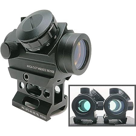 [AERITH BLACK] クリアレンズ Micro T-1 タイプ 11段階調光 電池付 レッド ドットサイト ダットサイト 20mm レイル対応 ハイマウント 付属 T1 N0108 (CL)