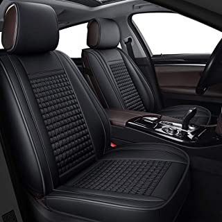 LUCKYMAN CLUB 04-FangGe Full Set Car Seat Covers Fit for Altima Maxima Frontier Murano Rogue Xterra Sentra with Breathable Faux Leather (Black Full Set)