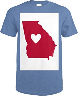 Georgia - State Outline and Heart 52039 (Heather Royal T-Shirt XX-Large)