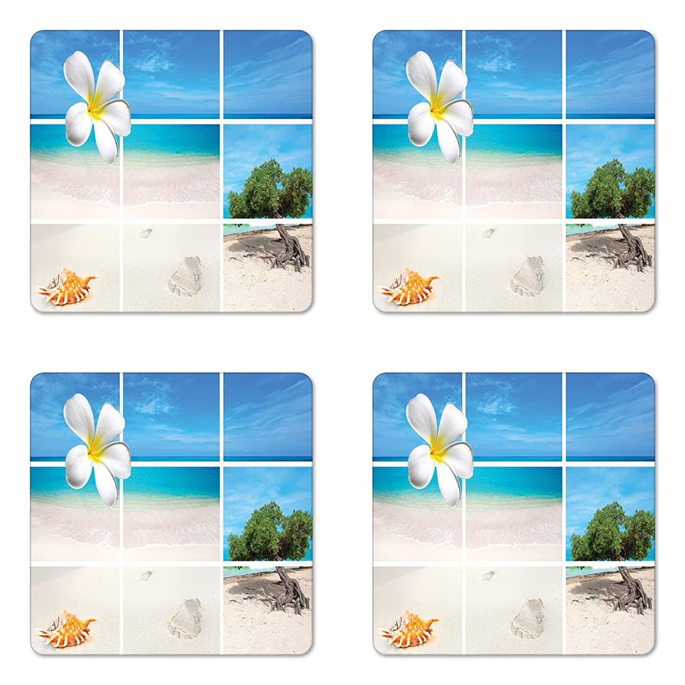 Lunarable Beach Coaster Set of Four, Collection of Seaside Pictures from The Caribbean Island Aruba Tree Flower Seashell, Square Hardboard Gloss Coasters for Drinks, Beige Blue