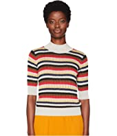 Sonia Rykiel - Lurex Stripes 3/4 Sleeve Sweater