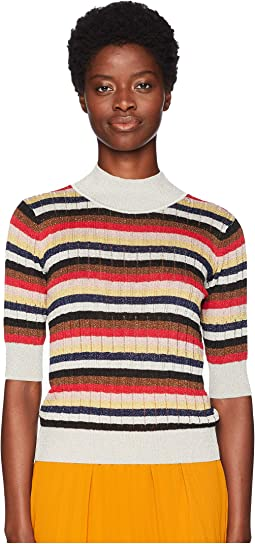 Lurex Stripes 3/4 Sleeve Sweater