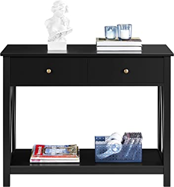 YAHEETECH Wood V-Shaped Design Sofa & Console Table Hallway Table with 2 Drawers and Bottom Open Storage Shelf for Entryw