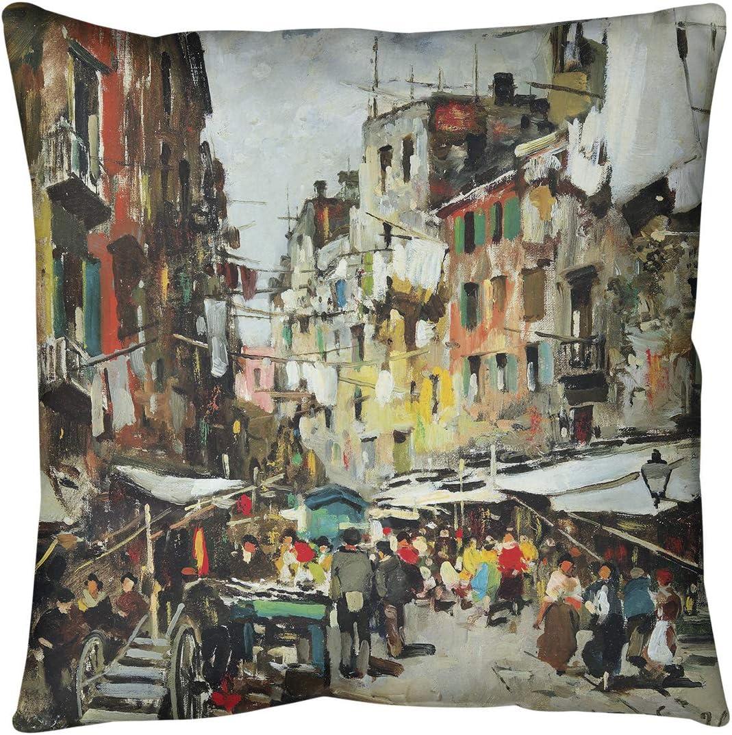 ArtVerse Felice Giordano Market in Popular brand in the world Naples Floor - Credence Pillow Standar