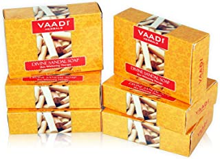 Vaadi Herbals Divine Sandal Soap with Saffron and Turmeric, 75g x 6