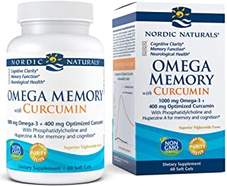Nordic Naturals Omega Memory with Curcumin, Lemon - 60 Soft Gels - 1000 mg Omega-3 + 400 mg Optimized Curcumin - Memory, C...
