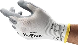 Ansell HyFlex 11-800 Nylon Glove, Gray Foam Nitrile Coating, Knit Wrist Cuff, Large, Size 9 (Pack of 12)